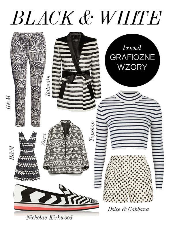 czarno białe wzory ubrania i dodatki