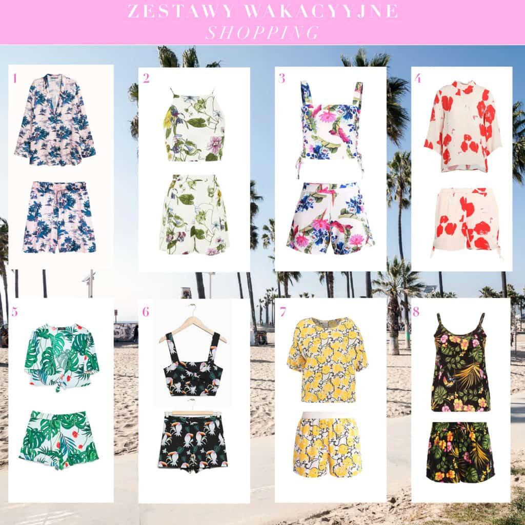 bluzka szorty we wzory - wakacyjny komplet zestaw trend lato 2017 shopping