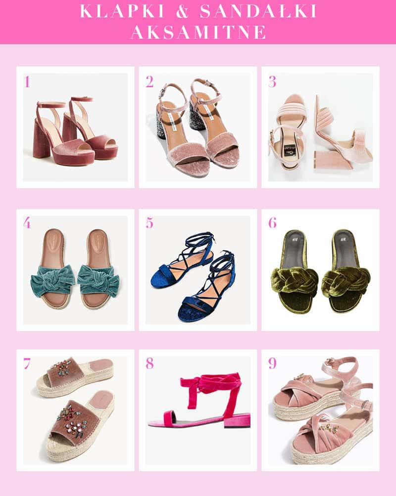 aksamitne sandały i klapki trend lato 2017 shopping