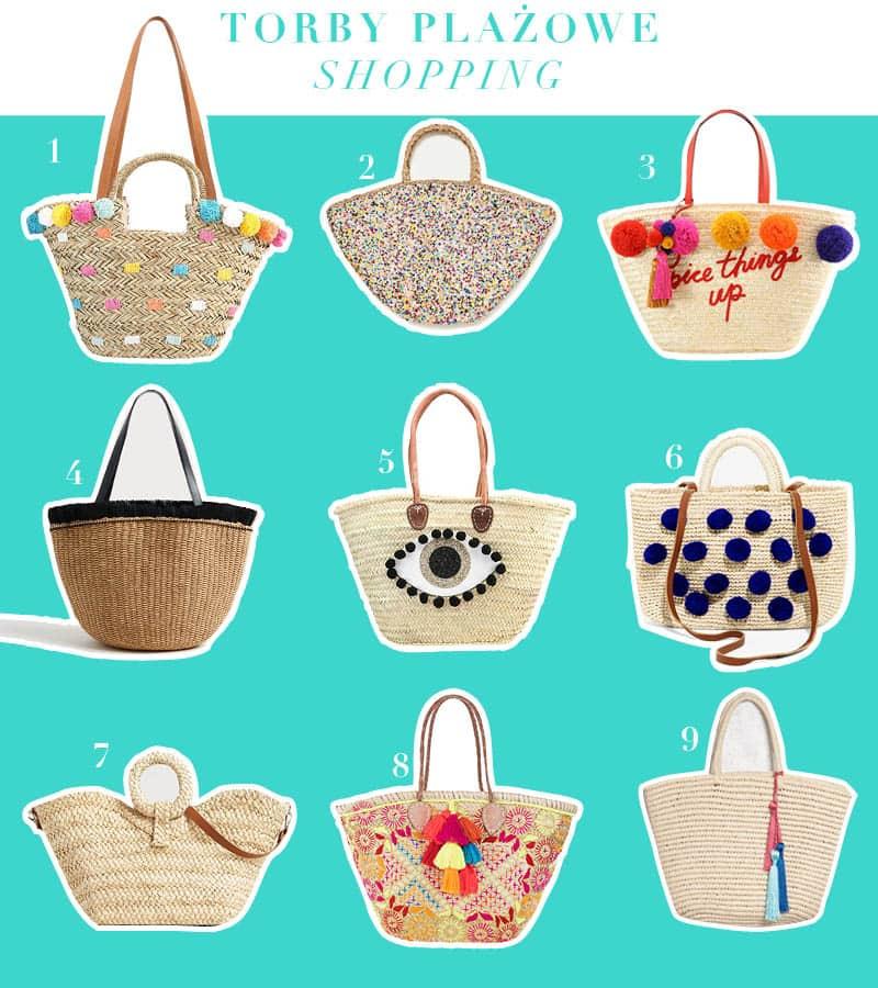 torby plażowe na wakacje 2017 shopping koszyki plazowe moda trend