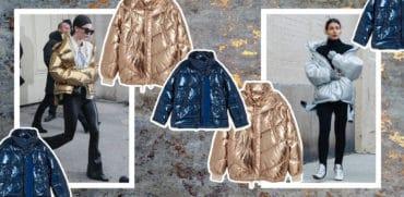 metaliczne kurtki puchowe zimowe