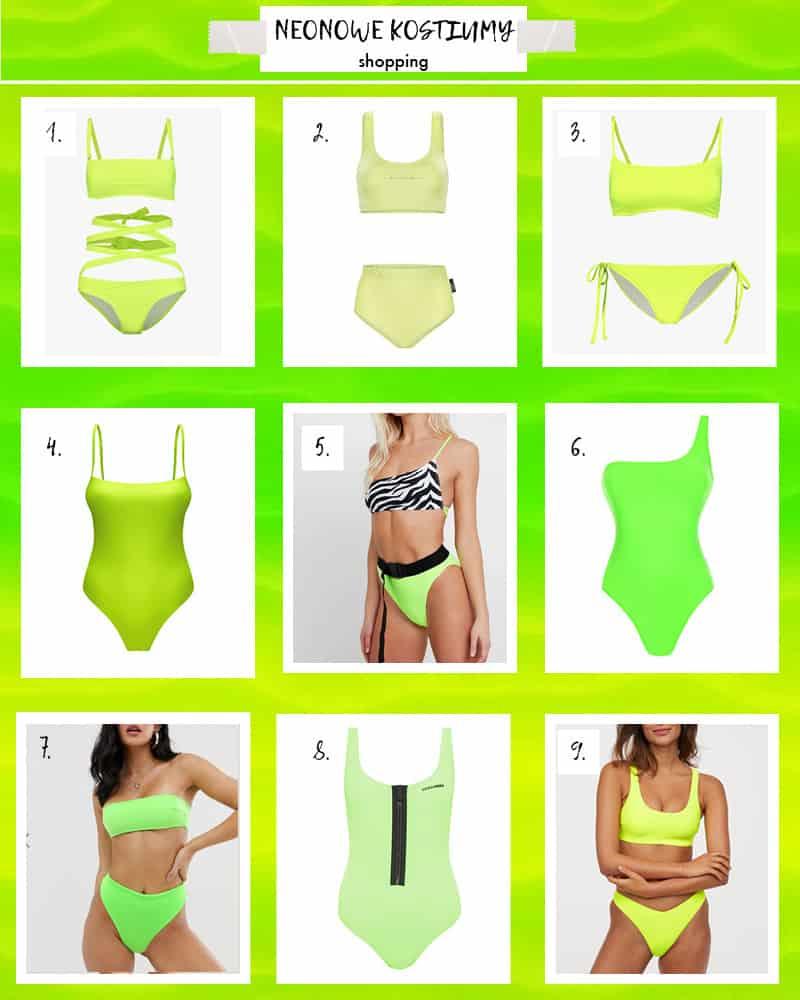 Neonowe kostiumy kąpielowe na lato 2019