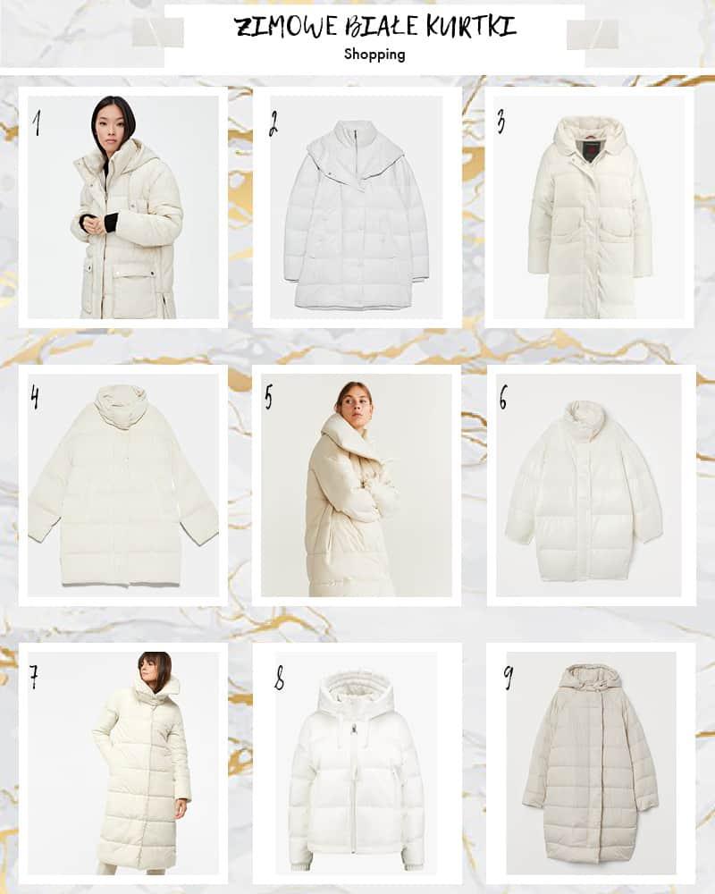 białe kurtki zimowe shopping temat moda